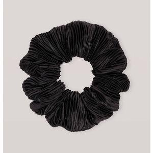 GANNI Pleated Black Satin Hair Scrunchie